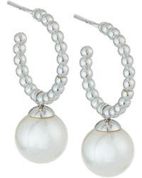 Majorica - White Pearl Hoop Drop Earrings - Lyst