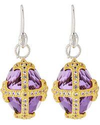 Jude Frances - Fleur-over-stone Drop Earrings In Amethyst Quartz - Lyst