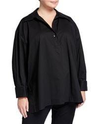 Go> By Go Silk Plus Size Long-sleeve Boxy Slit-hem Shirt