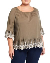 Fever Plus Size Embroidered Scallop-trim Top - Green