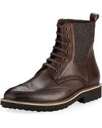 Zanzara - Farber Wing-tip Leather Combat Boot - Lyst