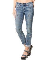 Nicole Miller - Tribeca Mid-rise Rhinestoned Straight-leg Jeans - Lyst