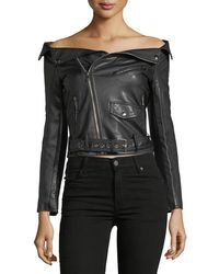 Haute Rogue - Off-the-shoulder Fuax Leather Jacket - Lyst