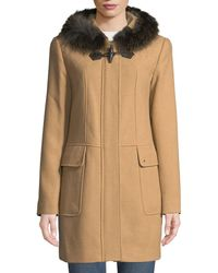 Ellen Tracy - Fox-fur Trimmed Hooded Toggle Coat - Lyst