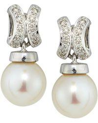 Belpearl | 14k Freshwater Pearl & Diamond Dangle Earrings | Lyst