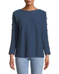 Neiman Marcus - 3/4-sleeve Cashmere Pompom Button Sweater - Lyst