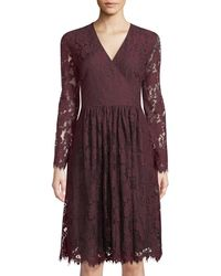 Neiman Marcus - Long-sleeve Lace Fit-&-flare Dress - Lyst