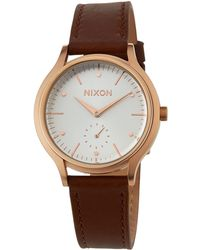 Nixon - 38mm Sala Leather Watch Brown/rose - Lyst