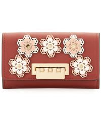 Zac Zac Posen - Earthette Hex Floral Leather Crossbody Wallet - Lyst