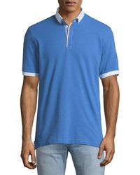 Maceoo - Shaped-fit Contrast-trim Button-collar Polo Shirt - Lyst