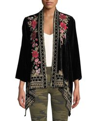 Johnny Was - Meri Floral-embroidered Velvet Cardigan - Lyst