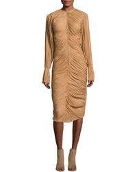 Nina Ricci - Ruched Long-sleeve Midi Dress - Lyst