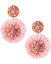 Nakamol - Double Bead & Fringe Circle Drop Earrings - Lyst