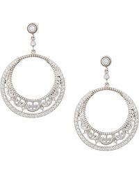 Penny Preville - 18k White Gold Diamond Lace Hoop Earrings - Lyst