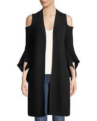 Neiman Marcus - Cashmere Cold-shoulder Flare-sleeve Cardigan - Lyst