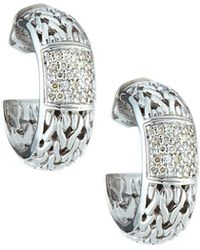 John Hardy - Silver Carved Chain Diamond Pave Medium Hoop Earrings - Lyst