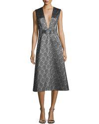 SUNO - Sleeveless Scalloped Metallic Midi Dress - Lyst