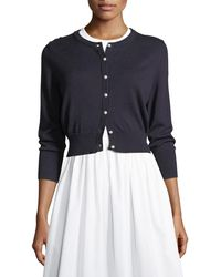 Karl Lagerfeld - Lace-panel Crop Cardigan - Lyst