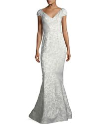 Zac Posen - Party Jacquard Sweetheart-neck Cap-sleeve Evening Gown - Lyst