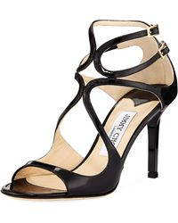 Jimmy Choo - Ivette Strappy Patent Leather Sandal - Lyst