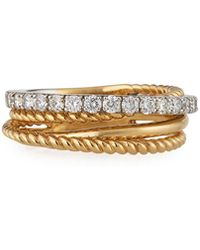 Neiman Marcus | 14k Two-tone Twisted Diamond Band Ring | Lyst