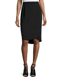 Magaschoni - Signature Relaxed High-low Faux-wrap Skirt Black - Lyst