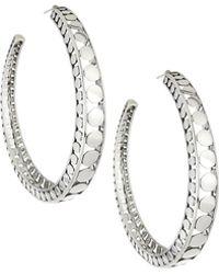 John Hardy Dot Silver Open Hoop Earrings Lyst
