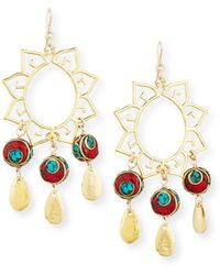 Devon Leigh - Turquoise & Coral Sun Chandelier Earrings - Lyst