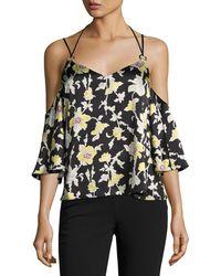 Cinq À Sept - Rayna Floral Cold-shoulder Top - Lyst