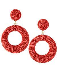 Panacea - Seed Bead Hoop-drop Earrings Coral - Lyst