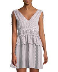 Line & Dot - Ilayda Striped Tie-shoulder Mini Dress - Lyst