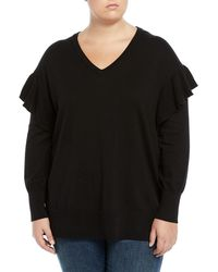 Vince Camuto Signature - V-neck Ruffle-shoulder Sweater - Lyst