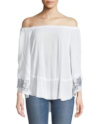 XCVI - Off-the-shoulder Lace-up Sleeve Blouse - Lyst