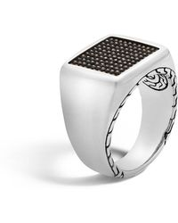 John Hardy - Men's Classic Chain Signet & Black Rhodium Ring Size 10 - Lyst