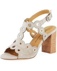 Neiman Marcus - Brice Suede Grommet Sandal - Lyst