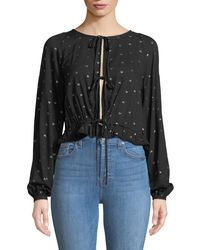 Knot Sisters - Tie-front Balloon-sleeve Blouse - Lyst