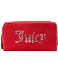Juicy Couture - Zip-around Velour Wallet With Rhinestone Logo - Lyst