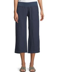 Allen Allen - Cropped Linen Wide-leg Pants - Lyst