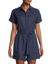 Neiman Marcus - Linen Button-front Romper - Lyst
