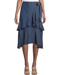 Laundry by Shelli Segal - Tiered-ruffle Chambray Wrap Skirt - Lyst