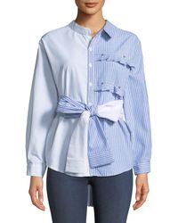 Haute Rogue - Two-tone Tie-waist Button-front Shirt - Lyst