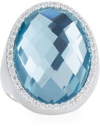 Roberto Coin - 18k White Gold Diamond & Topaz Ring - Lyst