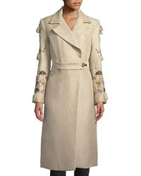 Natori - Long Trench Coat W/ Embroidered Bell Sleeves - Lyst