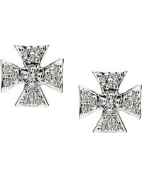 Elizabeth Showers - Sapphire Pave Mini Maltese Stud Earrings - Lyst