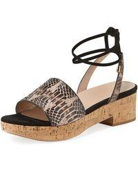8c9b3d83fd81 Valentino - Snakeskin Ankle-tie Flatform Sandals - Lyst