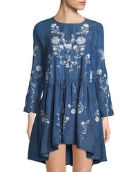 Haute Rogue - Embroidered Chambray Swing Dress - Lyst
