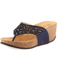 Neiman Marcus - Willow Embellished Cork Wedge Sandal - Lyst