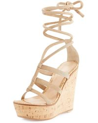 Gianvito Rossi - Suede Ankle-wrap Wedge Sandal - Lyst