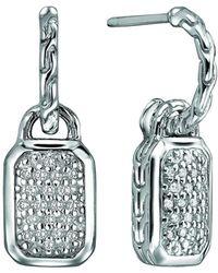 John Hardy - Silver Drop Earrings With Diamonds - Lyst