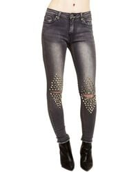 Romeo and Juliet Couture - Studded Slit-knee Jeans - Lyst
